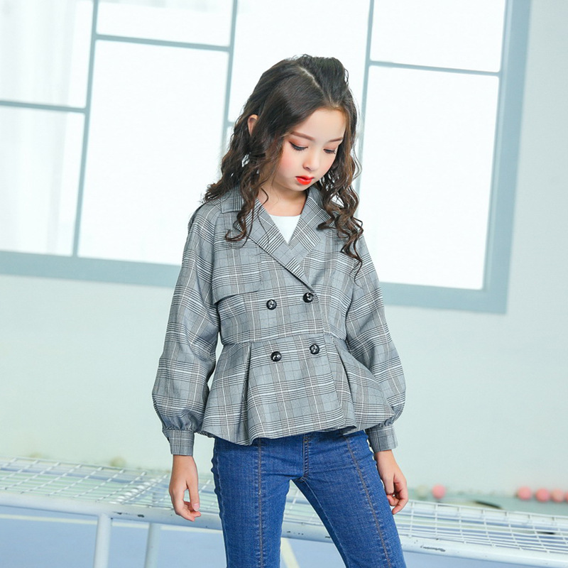 Girls' Jacket 2018 Spring and Autumn Children's Thin Jacket Plaid Jacket Fashion Lapel Double Breasted Cropped Top cropped wide sleeve top