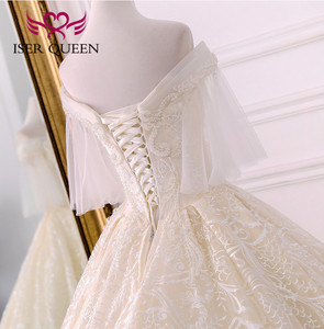 Image 5 - Di alta qualità di Lusso Dubai Abito Da Sposa 2020 Abito di Sfera Treno Lungo Del Manicotto Del Chiarore Perle Ricamo Abito Da Sposa Vestito Da Sposa WX0121