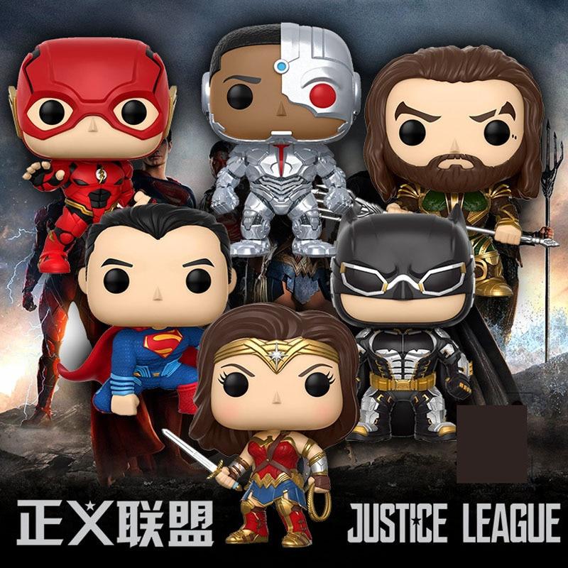 DC Justice League Character Super Hero Wonder Woman Superman Batman Aquaman Flash Cyborg Vinyl Dolls Figure Toys набор фигурок dc comics batman wonder woman superman 3 в 1 17 см
