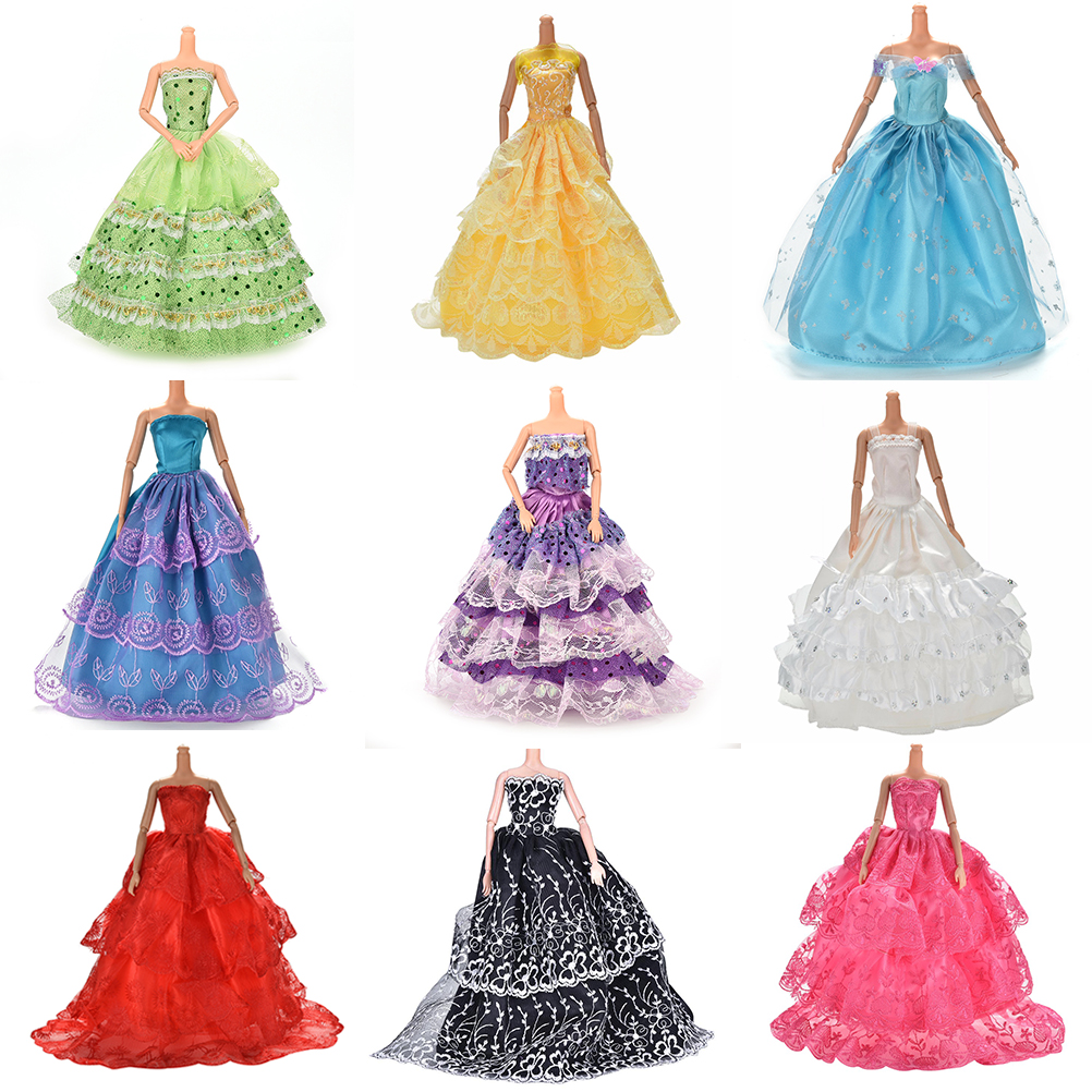 White Elegant Handmade Wedding princess Dress For Barbie Doll Floral Doll Dress Clothes Clothing Multi Layers Dolls Accessories one piece multi styles handmade for barbie dress fashion mini doll dress for barbie dolls party slim dress clothing accessories