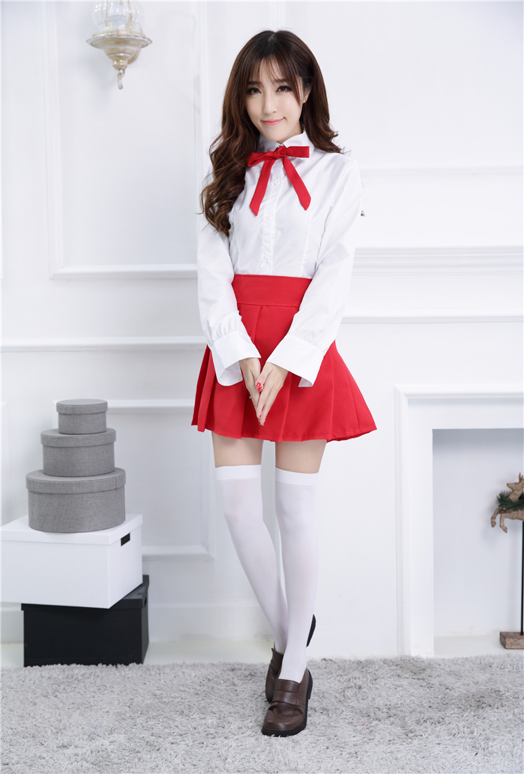 Full Lolita Party Dress Long Sleeves with Red Bowknot Pattern and A Cover