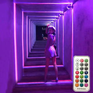 Image 2 - Thrisdar 10W RGB Led Window Door Frame Wall Lamp With Remote Hotel KTV Restaurant Spot light Aisle Corridor Ray liner Wall Light