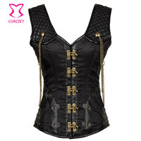 Vintage Black Satin And Leather Punk Gothic Clothing Plus Size Corset 6XL Steampunk Corsets And Bustiers