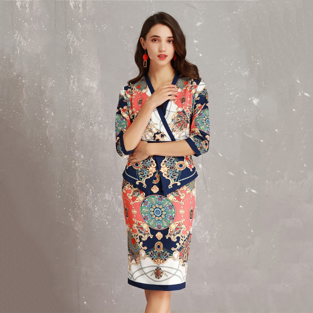 Detail Feedback Questions about Designer Set Suit Women 2019 Spring Summer  Retro Colourful Abstract Printing Ruffle Coat + Pencil Skirt Suit Office  Lady ... 71855972411a