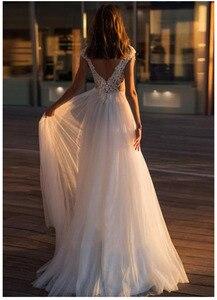 Image 2 - לורי חוף חתונה שמלת 2019 חשוף גב לקיר אורך לבן שנהב תחרה למעלה כלה שמלת רכבת חתונת שמלות