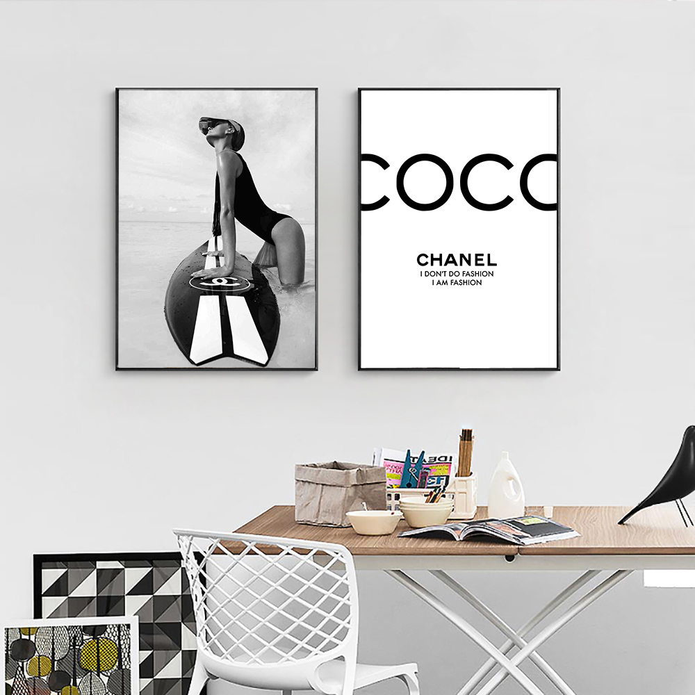 Aliexpress.com : Buy Fashion Black and White Poster Surf ...