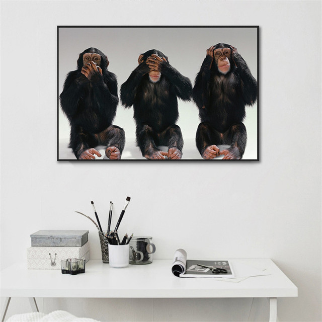 Canvas Painting Art Picture Funny Monkeys Blind Deaf Dumb