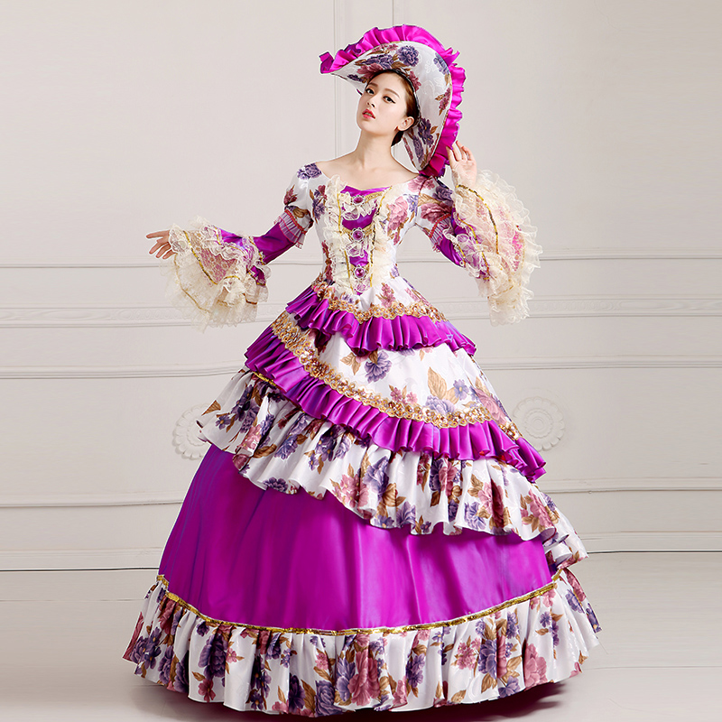 Custom 2018 Female Purple Floral Pattern Long Sleeve Retro Victorian Party Dress Marie Antoinette Ball gowns Theater Clothing
