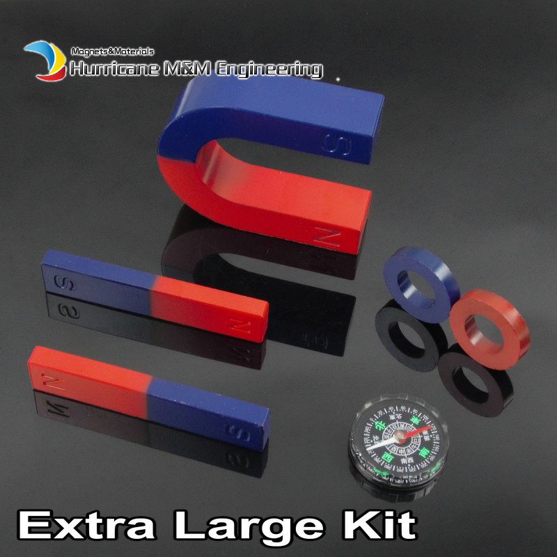1 Set Ferrite Magnet Experiment Magnet Kits XLarge Type Bar U and Ring with Compass blue red / Toy magnet Magnetic Teaching Tool elegant plum flower style necklace 70cm length