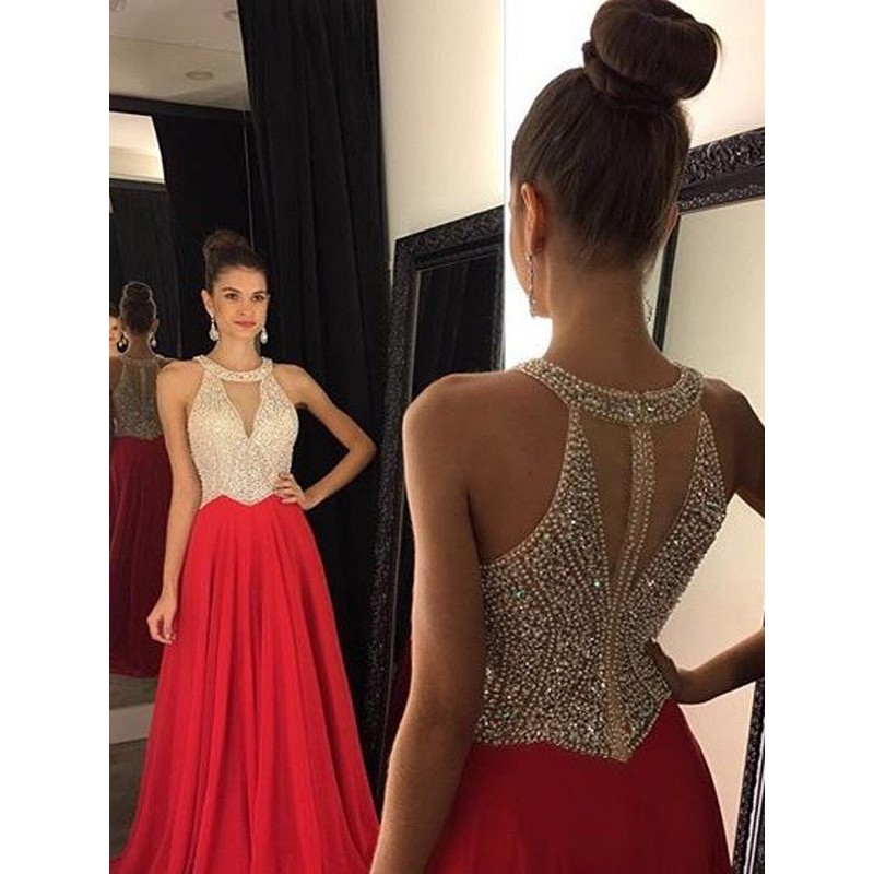 Women's Crystal Beaded Prom Dresses 2020 Long  Evening Gowns Formal Halter Neck Crystals Stones Beaded Sexy A-line Chiffon Gown