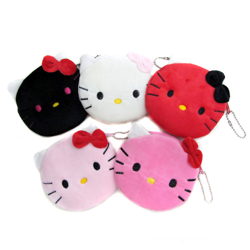 1 PC Coin Purse & Wallet Pouch Lady's Purses Plush Hello Kitty Kids Girl's Storage Bag Case Handbag Women Bow Mini Pink Wallets hello kitty canvas hand coin purse