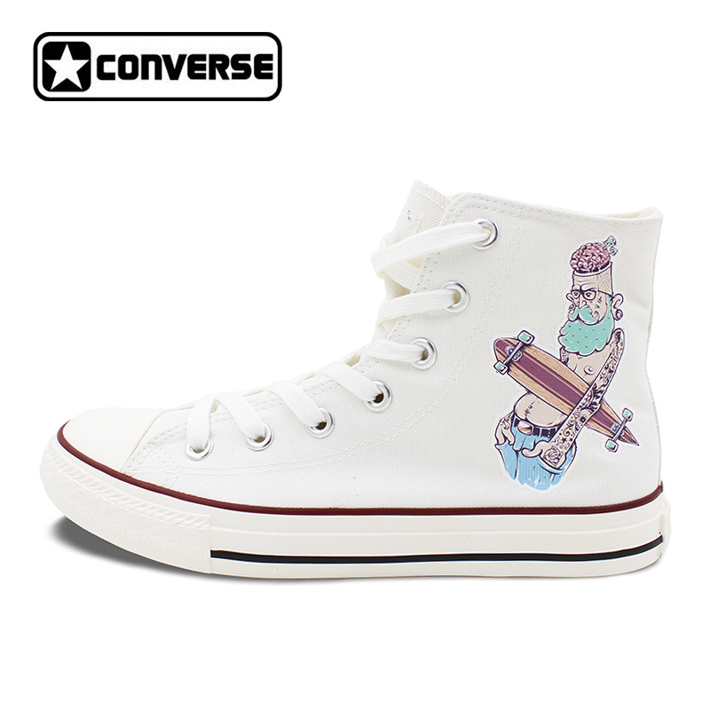 Original Design White Converse All Star Shoes Men Women Canvas Sneakers Hipster Character Rock Style Skateboarding Shoes unisex white black converse all star skateboarding shoes original design octopus anchor men women s high top canvas sneakers