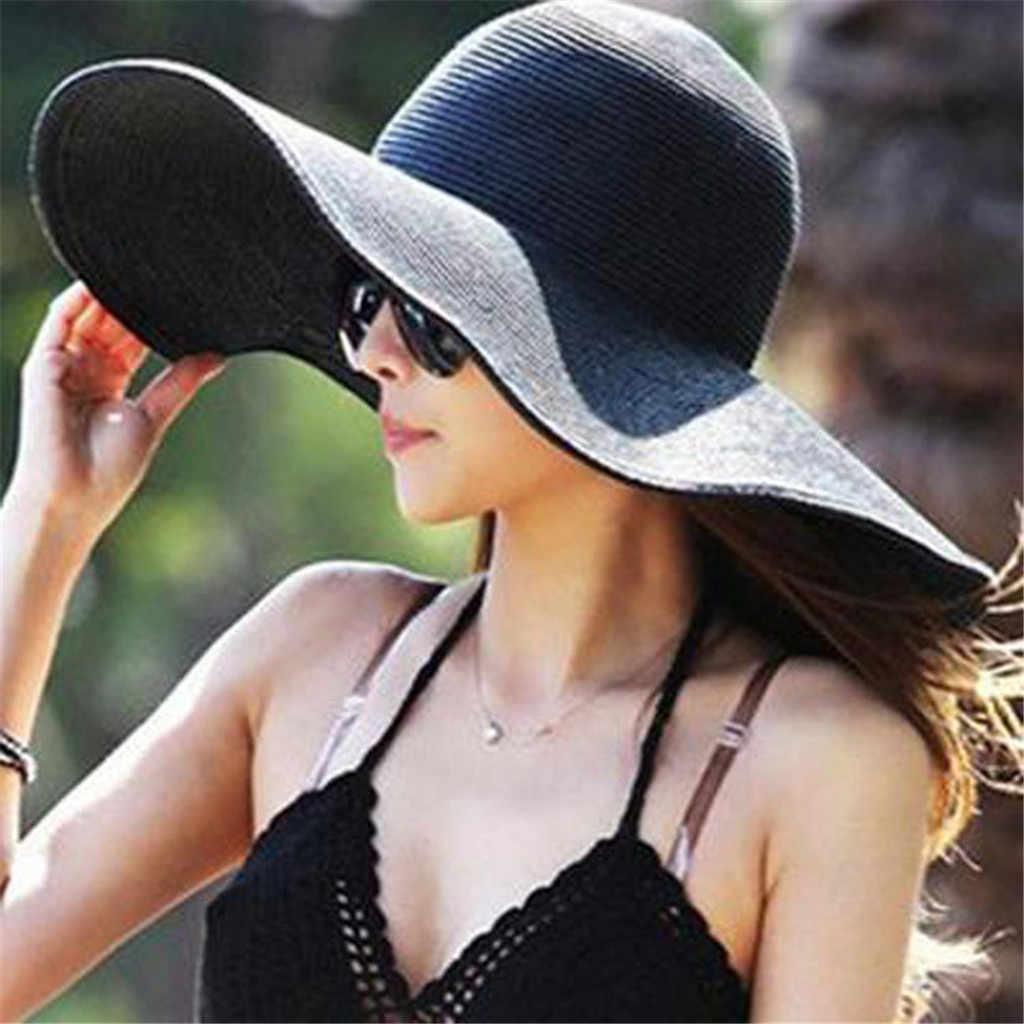 5d75b409fa0 Hot Sale Fashion Hepburn Wind Solid Color Striped Bowknot Summer Sun Hat  Beautiful Women Straw Beach
