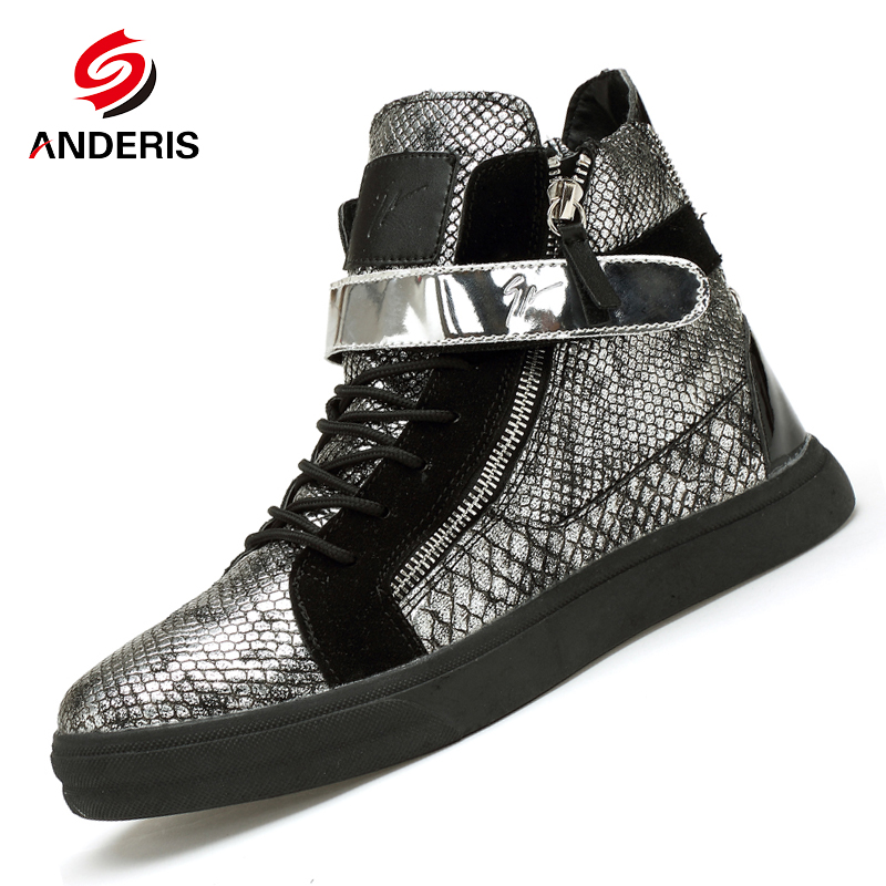 43206f03 Luxury High Top Men's Shoes Fashion zip ankle boots Men Snakeskin Leather  Casual shoes Hip hop Skate shoes Lace up Gold Silver