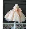 Baby Girls 1 year Birthday Party Dresses Princess baby girls dress pink tulle christening dresses Bow Baptism Dress for newborn