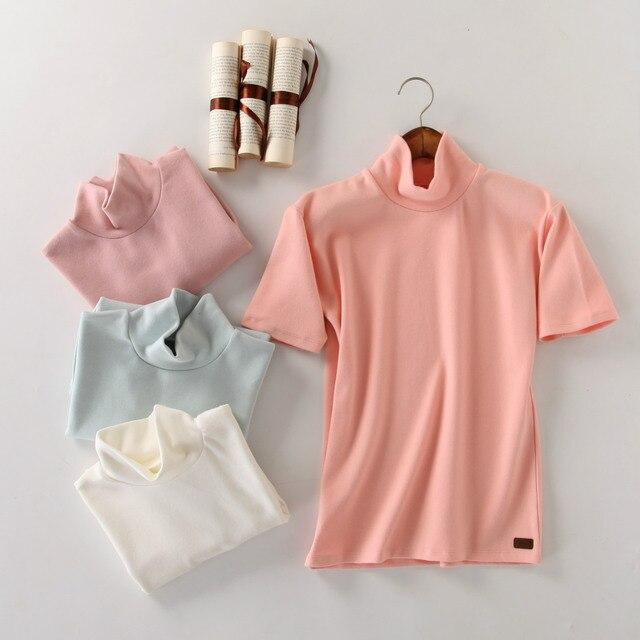 New Fall Plus Size Women Solid Short Sleeve T-shirt  Turtleneck T Shirt Women Blusas Femininas 2016 Haut Femme
