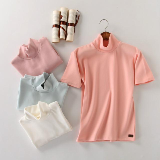 Nova Queda Plus Size Mulheres Sólidos T-shirt de Manga Curta Gola T Shirt Mulheres Blusas Femininas 2016 Haut Femme