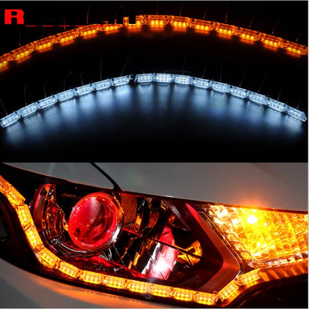 2x Car Flexible  Switchback LED Knight Rider Strip Light for Headlight Sequential Flasher Dual Color DRL Turn Signal