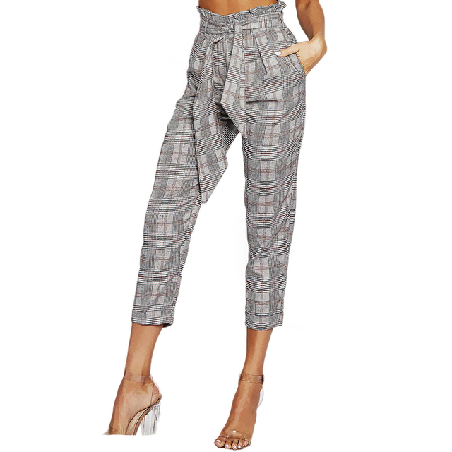 da71228d1f77e1 Grey bow tie pleated high waisted plaid cigarette pants for women ladies  vintage calf length straight
