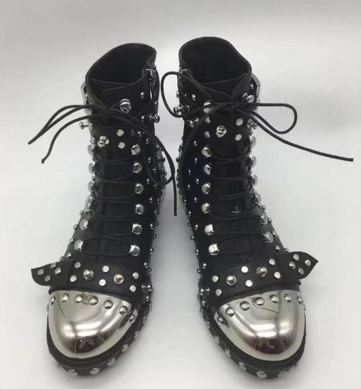 2017 Autumn Winter New Women Black Sliver Rivets Round Toe Lace Up Buckle Zip Low Heels Classic Short Ankle Martin Boots Size 42 daidifen 2017 autumn winter women ankle boots high heels lace up leather double buckle platform short booties new plus size 48