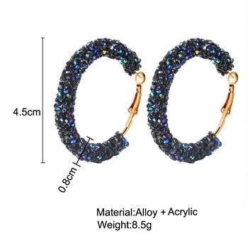 Pendientes de aro LUBOV a la moda redondo brillante con diamantes de imitación dorados para mujeres y niñas, pendientes grandes de cristal austriaco simples geométricos, joyería