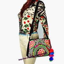 Two-use Vintage Hmong Tribal Ethnic Thai Indian Boho shoulder messenger purse bag embroidery tote bag pom pom trim SYS-357