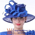 Kueeni Women Hats New Designed Royal Blue Lady Elegant Hats  Wide Brim Geometric Pattern Feather Elegant Lady Wedding Dress Hats