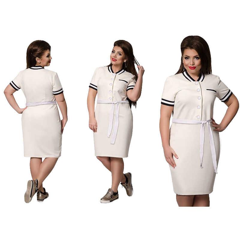 2019 חדש מעצב פולו שמלת נשים בתוספת גודל גדול גודל הברך אורך מקסי 6XL גדול Straigth טלאים Vestidos Sashes מתנה
