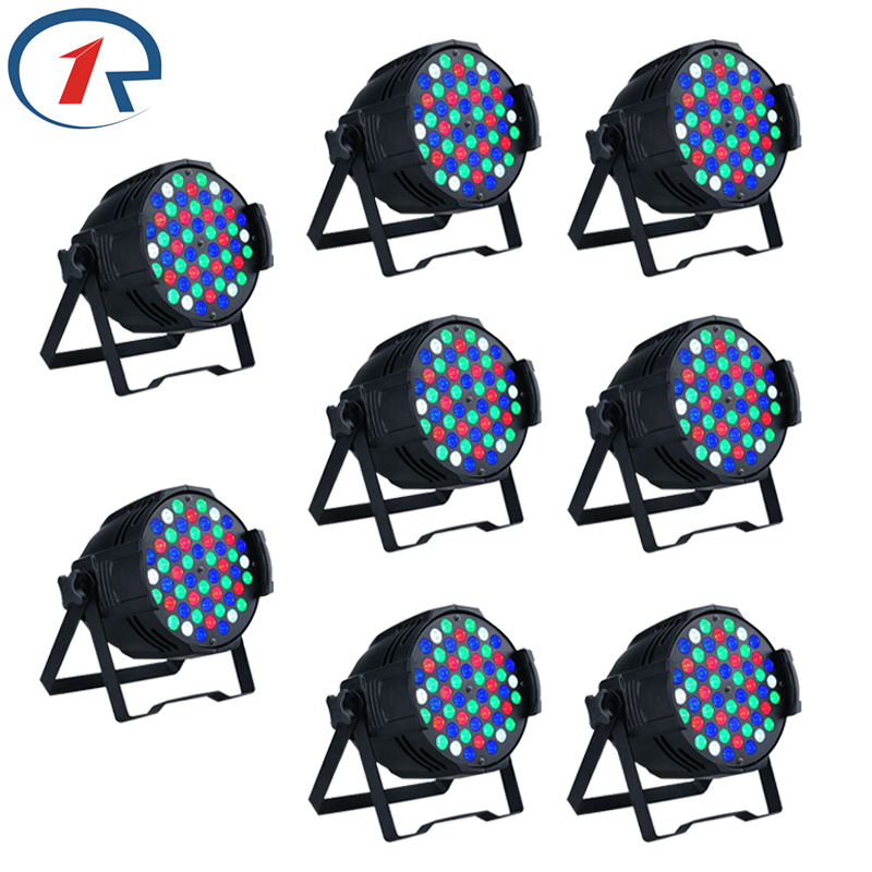 ZjRight 8pcs/lot 30W RGBW 54 LED Par light Sound control DMX512 LED stage light Music concert effect PAR light disco dj lights zjright 90w rgb fullcolor 54 led par light dmx512 concert decor lights sound control pro stage party dj holiday ktv disco light