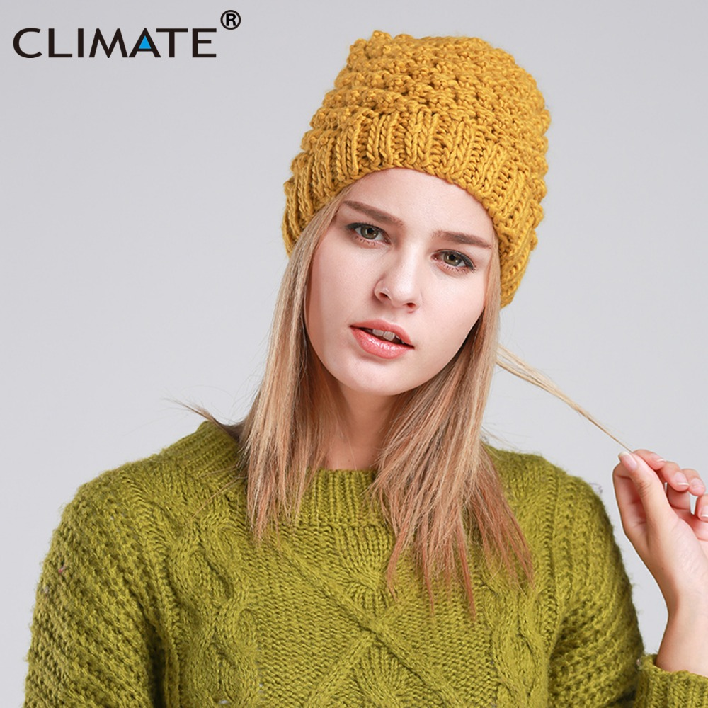 CLIMATE Women Winter Warm Beanie Hat Cap New Fashion Yellow Winter Warm Knitted Hat Beanie For Women Girls Lady knitting