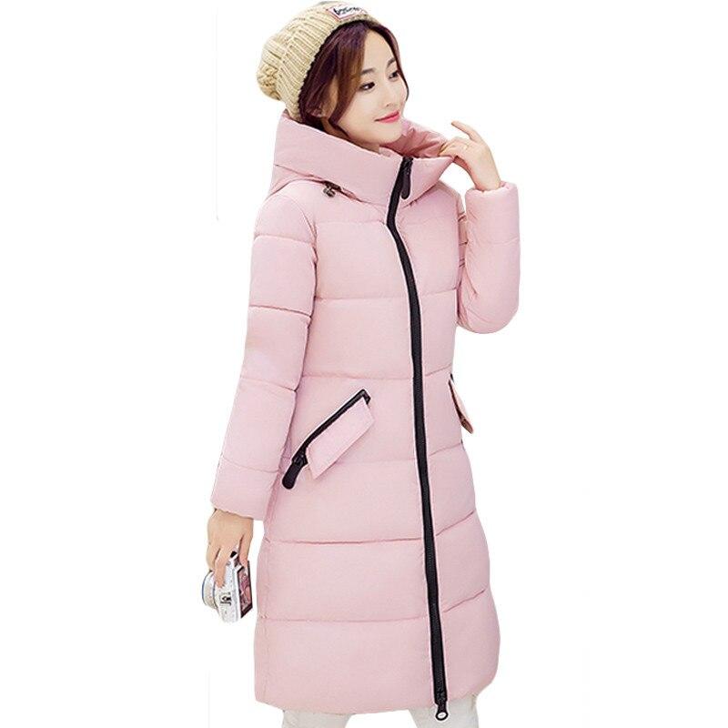 Winter Knee Length Down Cotton Jacket Woman 2016 Medium Long Slim Plus Size Cotton padded Coat