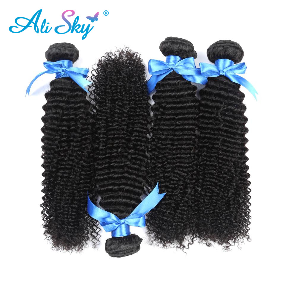 4 Bunldles Brazilian Afro Kinky Curly Hair Weave Human Hair Bundles Non Remy Hair Extensions Black Color 10''-28'' Ali Sky