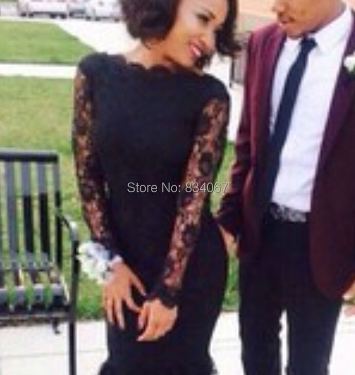 Black Lace High Neck Prom Dress Long Sleeves Evening Dresses 2017 ...