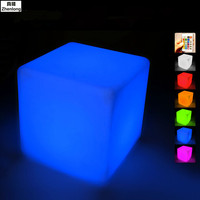 Cube LED Light Stool Waterproof Outdoor Remote Charging Diamond PE Luminous Furniture Stool For Bar Hotel