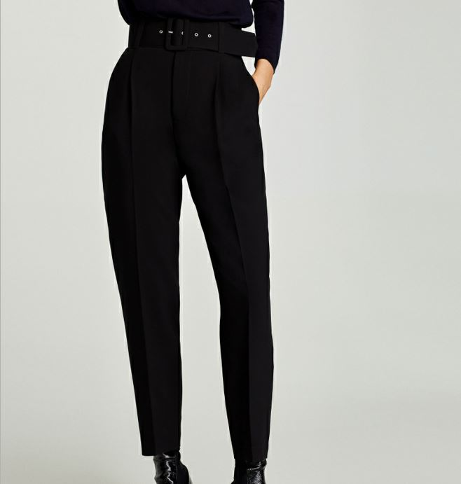 NEW 2018 Fashion Woman Black CREPE TROUSERS WITH Buckle BELT High Rise Front Pleats Back Sides Piped Pockets Long Pants