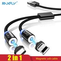2 в 1 Магнитный кабель RAXFLY Lighting to usb type C кабель для iPhone X 7 XS Max Магнитный зарядный микро-usb-кабель магнитное зарядное устройство