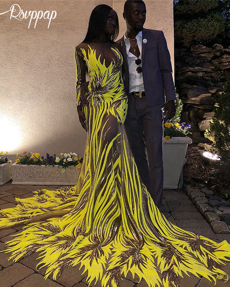 Sexy Long   Prom     Dresses   2019 See Through Sexy Single Long Sleeve Yellow and Gold Sequin African Black Girl Mermaid   Prom     Dress