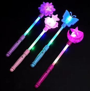 Flashing Light Up Sticks Magic LED Wands Batons DJ Fairytale Princess Costume Fancy Dress LED Glow Star Crown Buttery Moon Wand