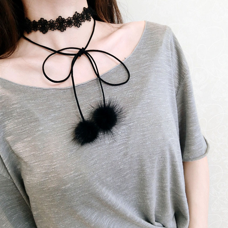 Winter/Autumn Mink Fur Ball Bow-tie ribbon Colar Long Girl Sweather Necklaces In Pendant Chokers Temperament Chain For Women