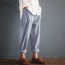 Plegie Women Elastic Waist Striped Pockets Loose Cotton Linen Long Harem Pants Casual  Pantalon Overalls Trousers Plus Size 5XL