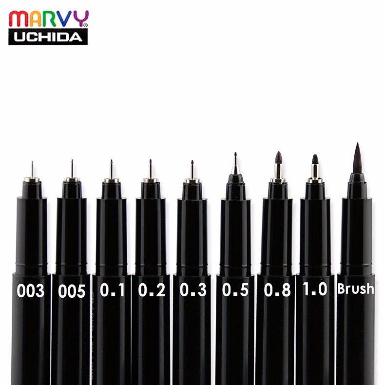 Marvy  Needle Sketch Fine Liner Pen 003/005/0.1/0.2/0.3/0.5/0.8/1.0/Brush Oil-Based Ink  Manga Waterproof Comic Fineliner