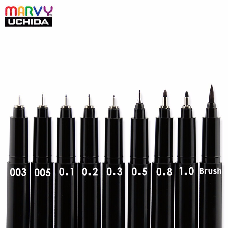 Marvy Needle Sketch Fine Liner Pen 003/005/0.1/0.2/0.3/0.5/0.8/1.0/Brush Oil-Based Ink Manga Waterproof Comic Fineliner