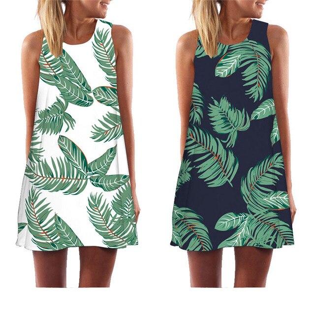 MEIBONA Summer Mini Dress Women Floral Print Dress Above Knee Casual Loose Beach Wear Sleeveless Vest Dress Vestido sukienki
