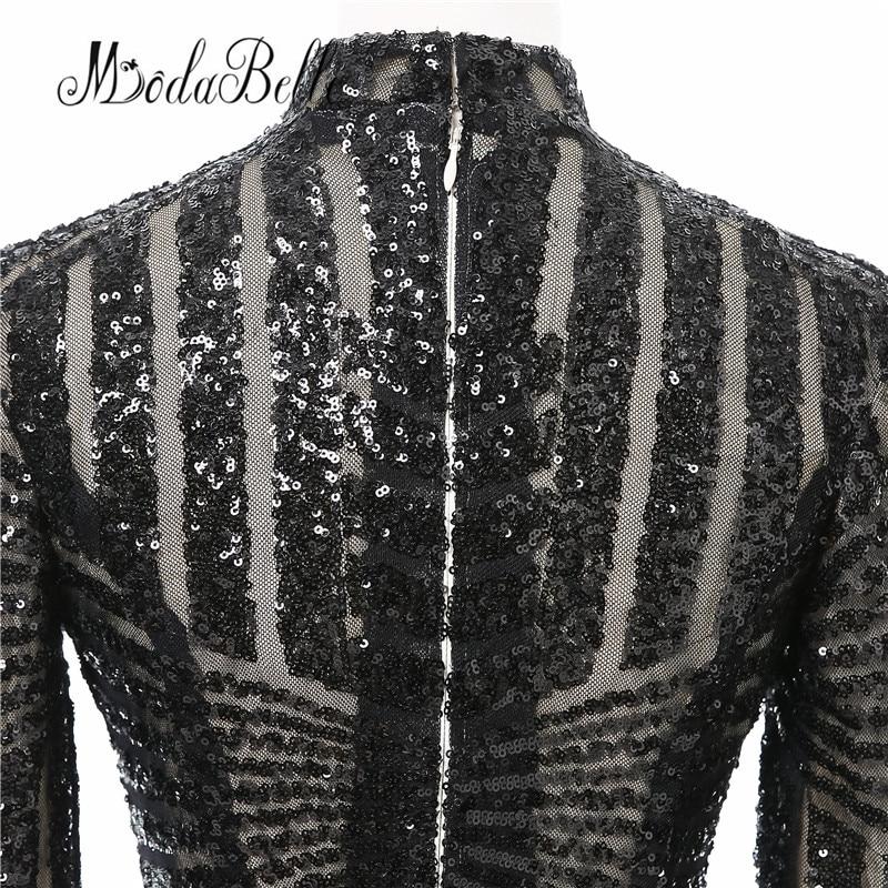 Luxe zwarte vrouwen avondjurken 2017 vestido noite lange mouwen hoge - Jurken voor bijzondere gelegenheden - Foto 5