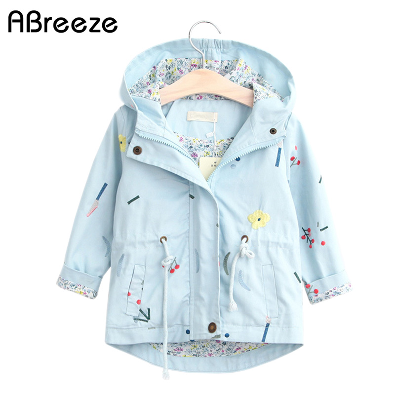 2018 Autumn girls Trench European style baby coats flower outerwear for girls blue pink cotton hooded Windbreaker baby girls2018 Autumn girls Trench European style baby coats flower outerwear for girls blue pink cotton hooded Windbreaker baby girls
