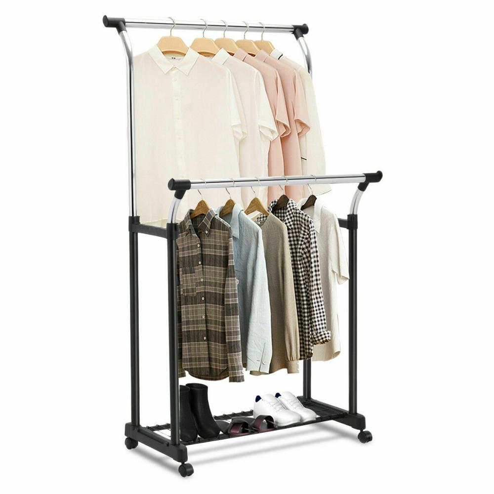 Goplus Double Rail Adjustable Garment Rack Portable Rolling Multifunctional Laundry Drying Clothes Hanger With Shoe Rack HW53833
