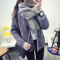 De DoveMs. single-breasted cardigan sweater sweater dress winter coat female short paragraph sweater coat Korean tidal wild