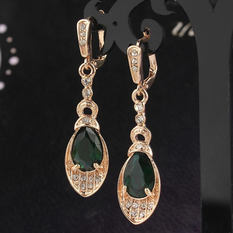 Vintage Gold Color Green Crystal Earrings For Women Wedding Party Waterdrop Statement Indian Jewelry Trendy Drop Earrings Gift