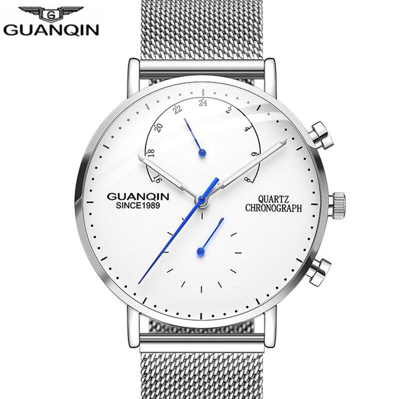 GUANQIN Mens Watches Top Brand Luxury Chronograph Clock Men Business Casual Creative Mesh Strap Quartz Watch Relogio Masculino A lo ultimo en reloj tourbillon