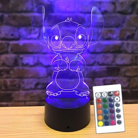 ponto criativo 3d luz da noite painel acrilico criancas candeeiro de mesa lampada cabeceira usb